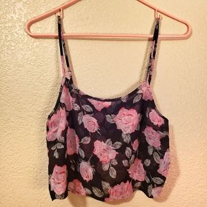 Forever 21 pink roses spaghetti strap crop top